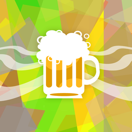 Full beer mug on abstract colorful background Stock Photo