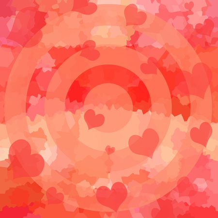 Love background with romantic hearts and target