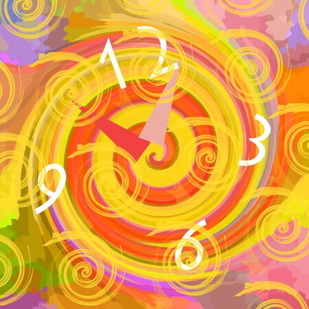 Clock in the time tunnel, bright colorful background
