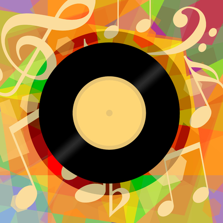 Musical background with vinyl record and music notes Stock fotó - 83386902