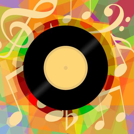 Muzikale achtergrond met vinyl record en muziek notities