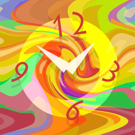 Abstract clock on liquid colorful background Stock Photo