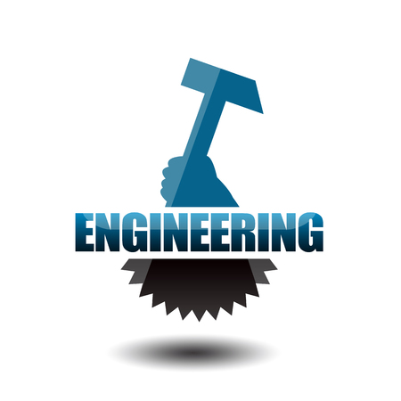 Engineering concept with hammer and gear wheel Stockfoto