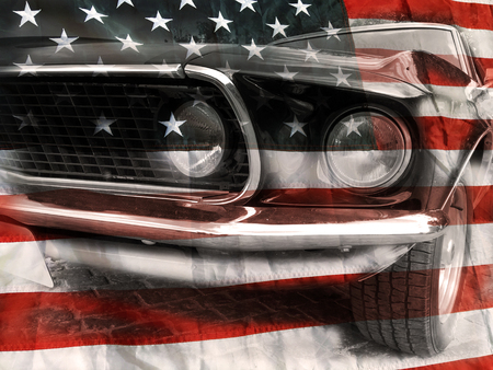 Retro car and american flag background
