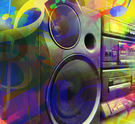 Colorful music background with stereo boombox and musical notes Standard-Bild