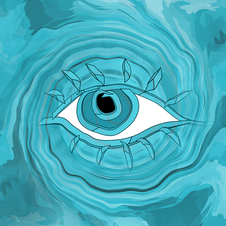 Mystical eye on water wave abstract magic background