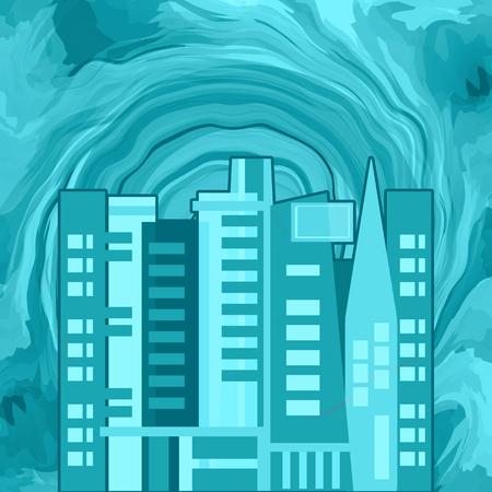 Tsunami giant wave destructing an apocapyptic urban city