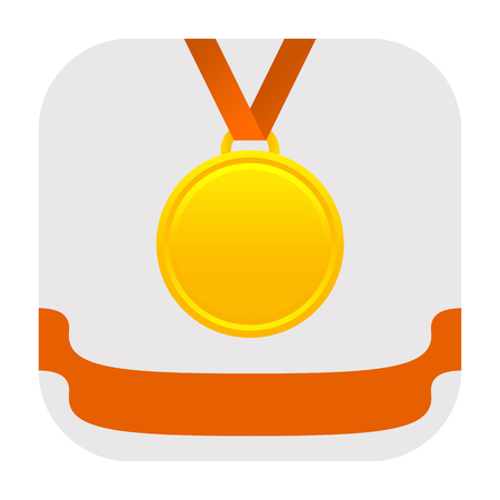 Achievement icon with golden medal and winner ribbon