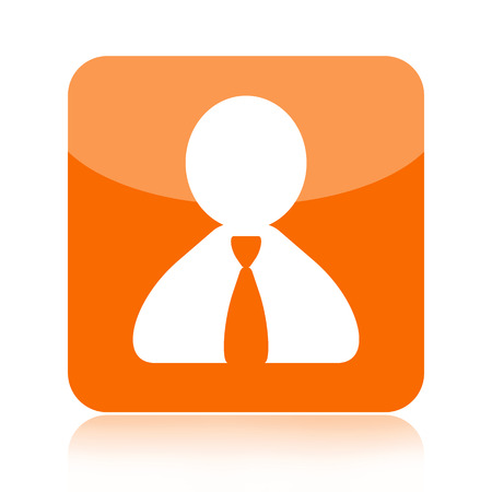 Person orange  glossy icon isolated on white background Banco de Imagens