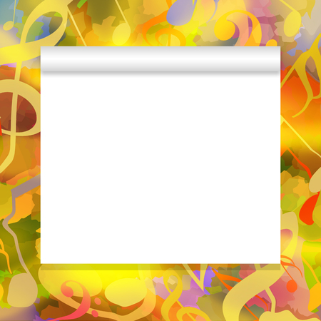 Blank white paper scroll on bright music background