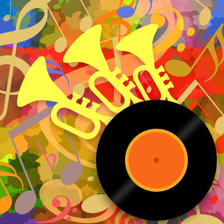 Bright music party background with vinyl record and loud trumpets
