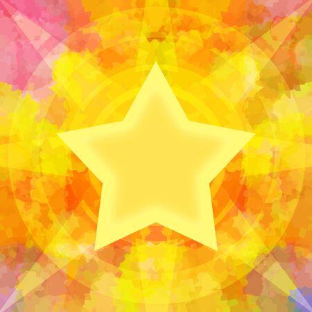 Bright burning golden star background