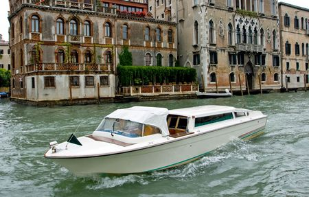 Water taxi on the Grand canal in Venice