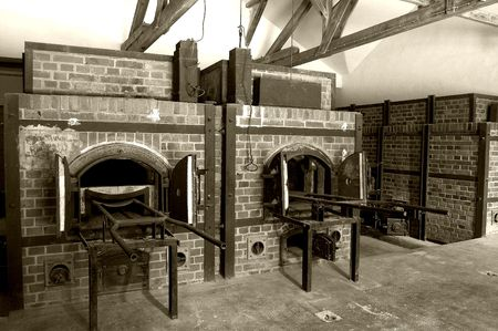 Ovens used to burn bodies in a German concentration camp photo