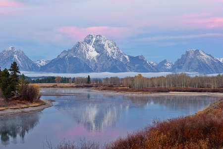 Sunrise at Oxbow Bend at Yellowstone National Park photo