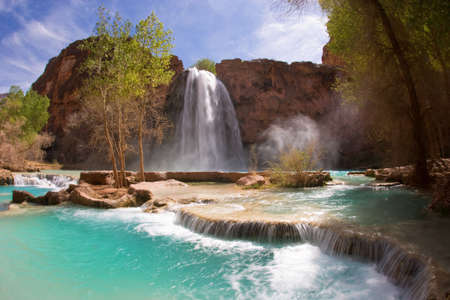 Havasu Falls and its lime green water in Arizona Stock Photo