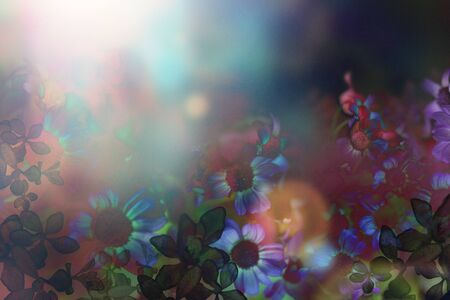 Graphic material of CG collage of flowers Stok Fotoğraf