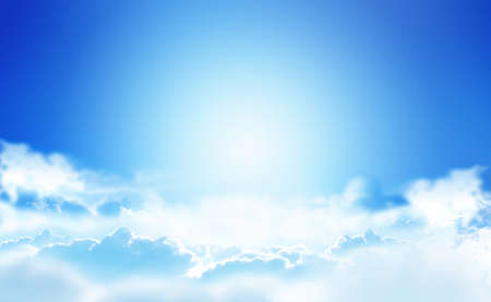 A refreshing blue sky shining brightly and a view flying through the clouds