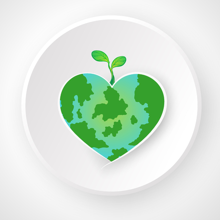 World Environment Day. Concept love the world. sapling on map heart green.   with copy space. on background white gray. vector illustration