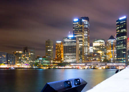 port jackson: Skyline Sydney at night Stock Photo