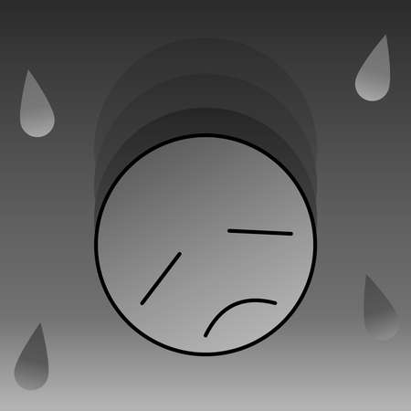Sad emotional face in grayscale with teardrop 05