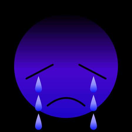 Sad emotional face in purple with teardrop 10 Vecteurs