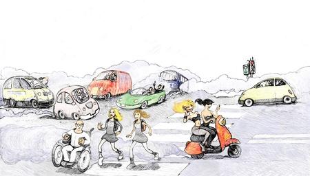 vespa piaggio: raster illustrazione, fumetto stile digitale del traffico cittadino con le violazioni e l'inquinamento