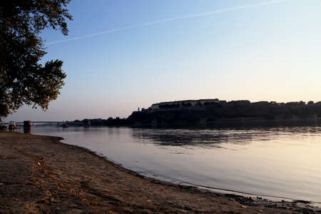 danube river and fortress petrovaradin at dawn Stock Photo