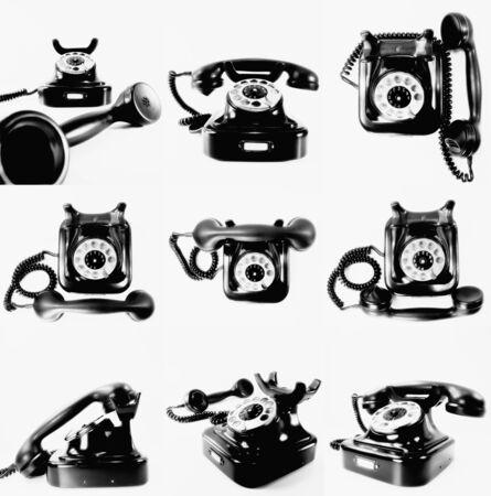 vintage zwart telefoon op wit Stockfoto