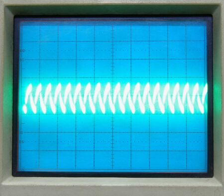 vintage oscilloscope frame with waves