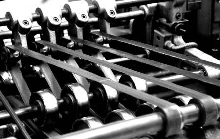 belts of a vintage printing machine