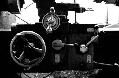 een deel van een vintage draaibank