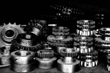 roestige oude gebruikte metalen tandwielen Stockfoto