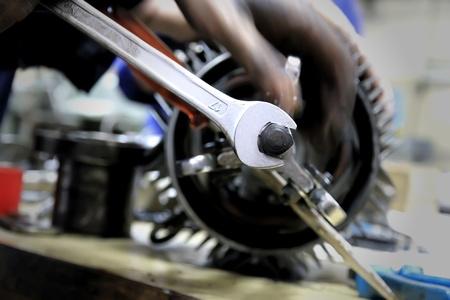 dirty hands - mechanics at work Stock Photo