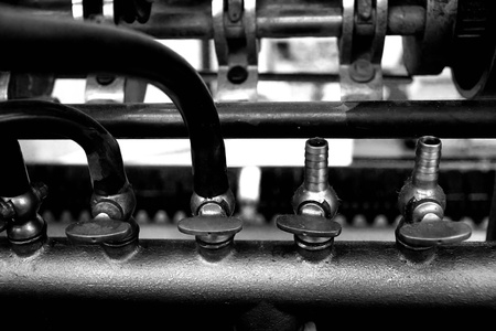 part of a vintage printing machine Stock Photo