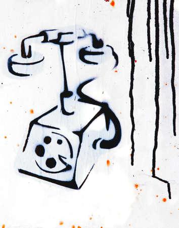 vuile vintage telefoon graffiti Stockfoto
