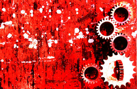 dirty grunge red mechanical theme abstract background Stock Photo