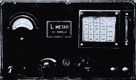 vintage radio broadcasting equipment old photo look Stock Photo