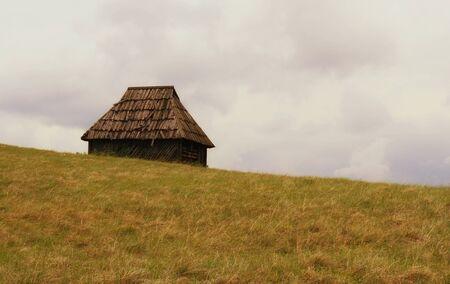 oude houten huis met weide