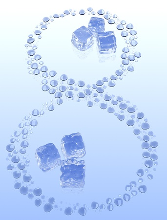 number Eight out of the water droplets, and 2 groups of ice inside it. photo