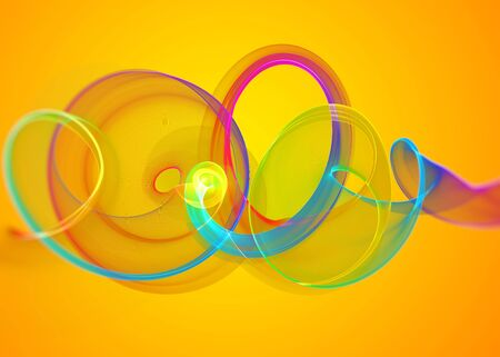 holyday: holyday glass transparent rainbow curved spiral and sircles over yellow orange Abstract Background.  horizontal Illustration