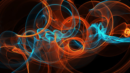 abstract blue and orange red smoke over black background with copyspace. Stock Photo