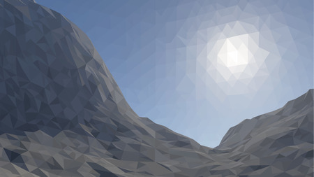 glacier: Mountains background with sun in glacier. illustration of  many triangles.