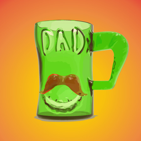 satined: 3d Green glass mug cup with text dad and red mustache. Fathers day greeting card vector illustration eps10. Illustration