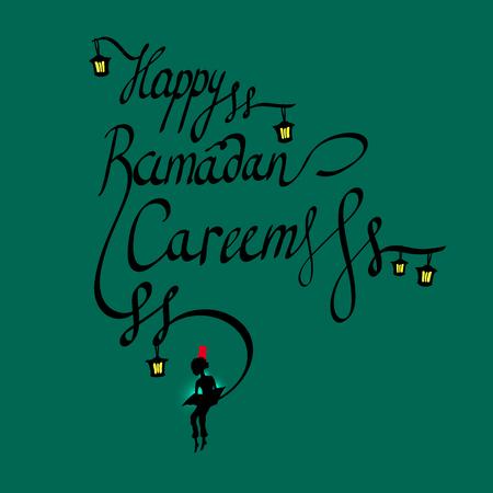 boy arabic: Doodle calligraphy text Happy Ramadan Kareem and a boy reading the sacred book, arabic islamic holy month of muslim community, Ramazan-ul-Mubarak celebration. linear lettering silhouette on night sky. Greeting card.