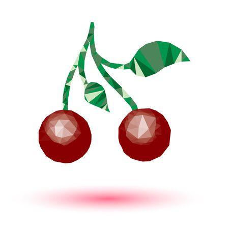 isolated illustartion: Triangle art cherry vector lowpoly illustartion  isolated on white background.