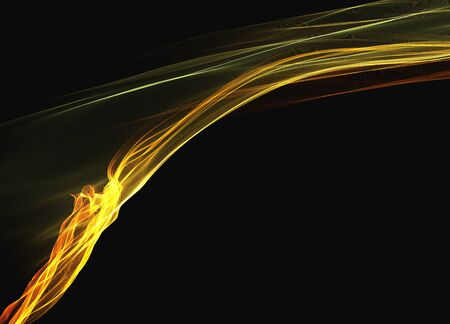 intertwined: abstract yellow orange smoke flame elegant wave over black background.