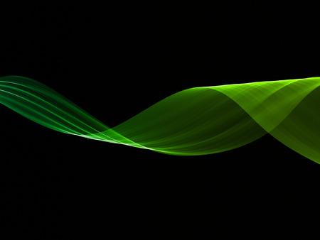abstract eco fresh green smoke flame helix over black background.