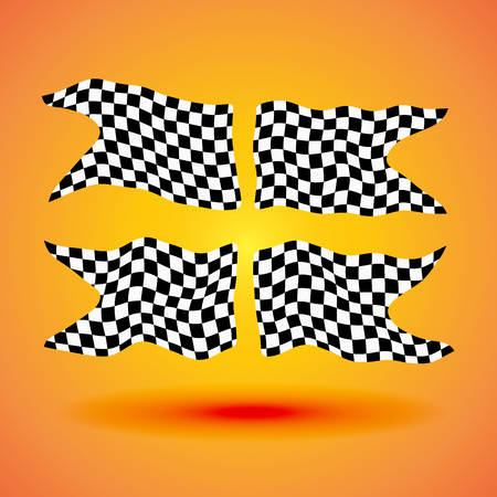 Racing background set collection of four checkered flags racing illustration.