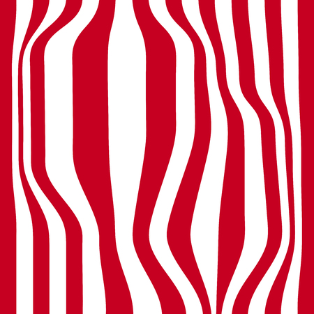 Striped abstract background. red and white zebra print. illustration. Stock Photo